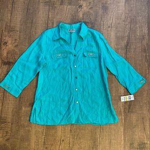 JM Collection 3/4 Sleeve Button Front Blouse